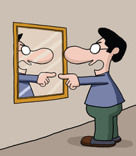 Cartoon of man pointing at himself in a mirror