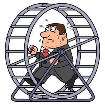Businessman in a hamster wheel
