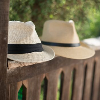 Panama hats on bench