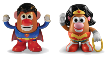 Two children's toys dressed as superheros