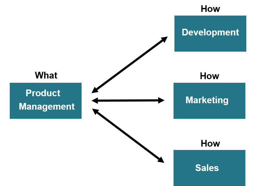 flow chart showing the what and how of product management, how = development, marketing and sales