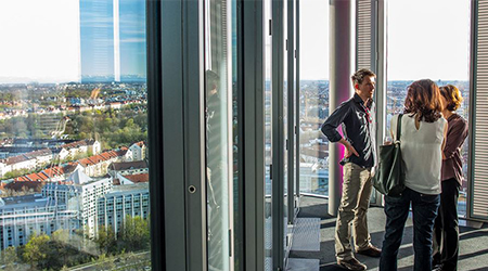 Product Focus Munich training venue - Design Offices Highlight Towers, view over the city
