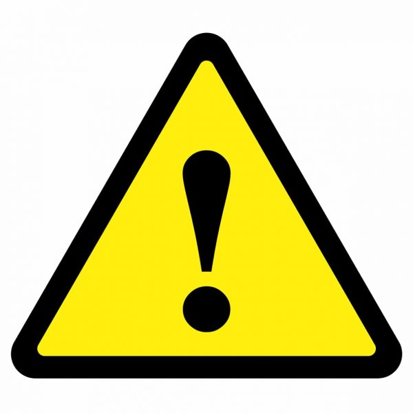 Yellow triangle with exclamation mark